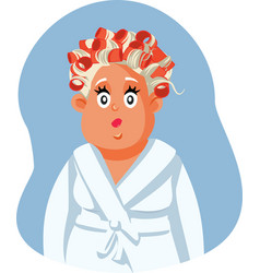 Middle aged woman wearing hair rollers vector