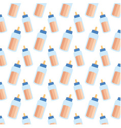 milk bottles baby pattern vector image