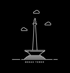 monas tower national monument indonesia landmark vector image