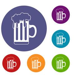 mug with beer icons set vector image