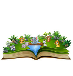 Open book with baby animal cartoon playing in the vector