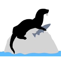 Otter on rock with fish vector