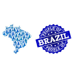 people collage of mosaic map of brazil and vector image