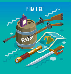 pirate set isometric game background vector image