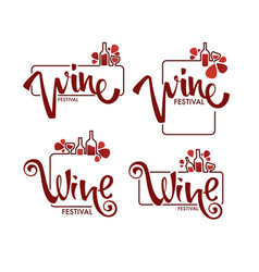 red wine festival young wine logo emblems vector image
