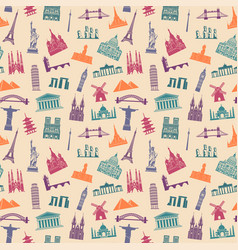 Seamless background with tourist attractions vector