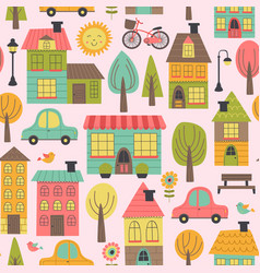 seamless pattern with small town vector image