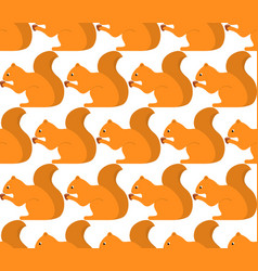 Seamless pattern with squirrel and nut fabric vector