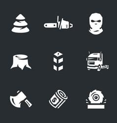 Set illegal logging icons vector