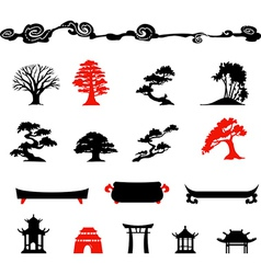 Set of chines bonsai trees Isolated on white backg vector image