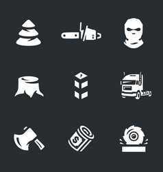 Set of illegal logging icons vector