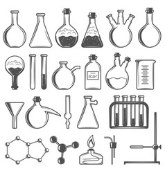 set of laboratory research elements with flasks vector image