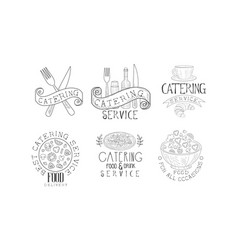 Set of monochrome emblems for catering vector