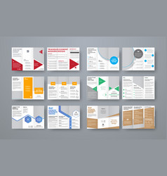 set of trifold brochures with different geometric vector image