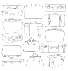 Set of Vintage Suitcases - for design in vector image