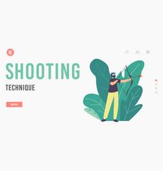 Shooting technique landing page template archery vector