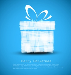 Simple blue Christmas card with a gift vector image
