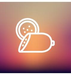 Sliced sausage thin line icon vector image