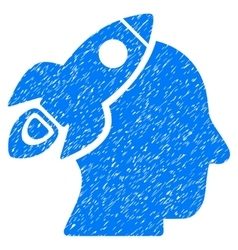 Space Rocket Thinking Head Grainy Texture Icon vector image