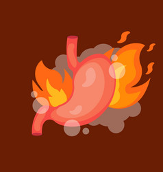 Stomach heartburn with fire isolated vector