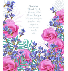 summer watercolor exotic flowers and lavender vector image vector image