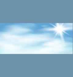 sun rays on blue sky vector image