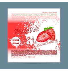 Template candy packaging Strawberry sweets vector image
