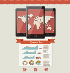 three touchscreen mobile phone devices and icons vector image