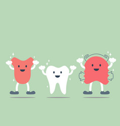 Tooth tongue and teeth retainer vector
