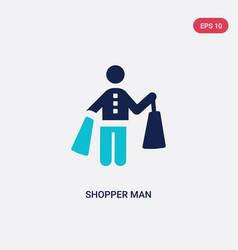 Two color shopper man icon from behavior concept vector