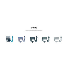 Uptime icon in different style two colored and vector