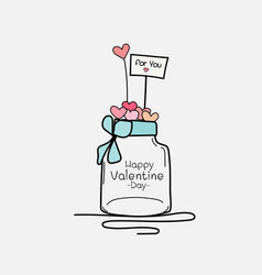 Valentine day card with mason jars and heart vector