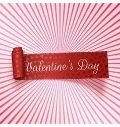 Valentines Day realistic red greeting Ribbon vector