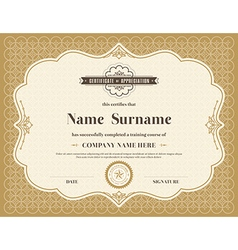 Vintage retro frame certificate template vector image