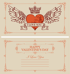 Vintage valentine card with red heart and wings vector