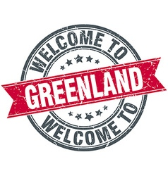 Welcome to Greenland red round vintage stamp vector