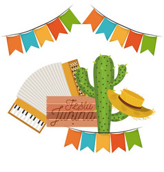 white background with cactus and hat and accordion vector image