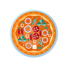 whole hot delicious pizza with salami onion vector image