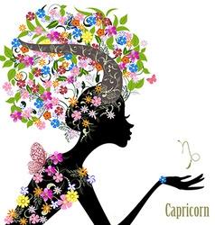 Zodiac sign capricorn fashion girl vector image