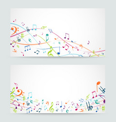 Abstract colorful music notes banner vector image