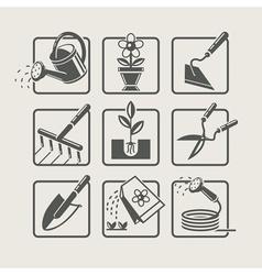 Garden tools Icons set vector image vector image