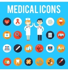 Medical tools and medical staff flat icons vector image vector image