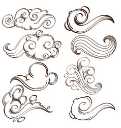 set of abstract wavy elements hand drawn sketch vector image vector image