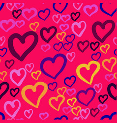 a seamless pattern with repeating hearts of vector image