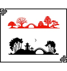 Abstract chines landscapes vector image vector image