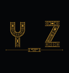 alphabet art deco style in a set yz vector image