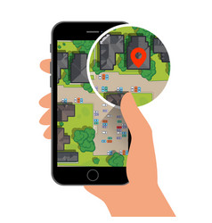 mobile gps navigation on mobile phone with map and vector image vector image