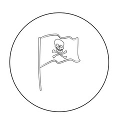 pirate flag icon in outline style isolated on vector image