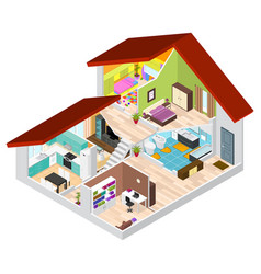 house in cutaway isometric view vector image