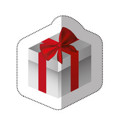 sticker gray square gift box with red ribbon vector image vector image